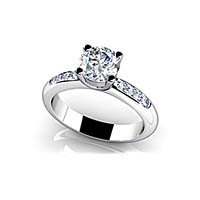 Raised Bridge Side Channel Engagement Ring 1.0 Carat Total Weight