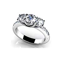 Eleven Stone Diamond Engagement Ring 1.18 Carat Total Weight