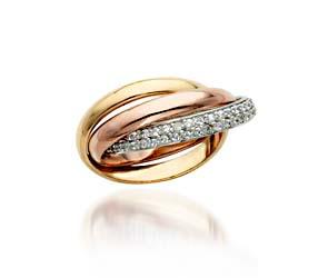 Tri-Color Eternities Diamond Ring