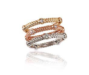 Stackable Beaded Tri-Color Diamond Ring