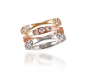 Tri-Color Stackable Wedding,Anniversary Ring