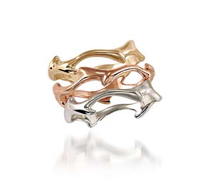Tri-Color Stackable Wedding Rings