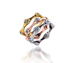 Bezel Set Tri-Color Diamond Stackable Ring