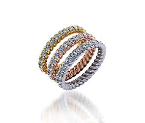 Stackable Tri-Color Rope Collection Wedding/Anniversary Ring