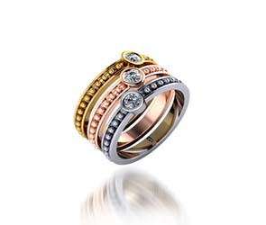 Tri Color Stackable Beaded Wedding/Anniversary