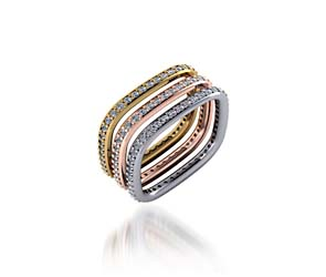 Stackable Tri Color Diamond Wedding/Anniversary Ring