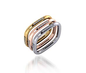 Tricolor Stackable Wedding/Anniversary Band