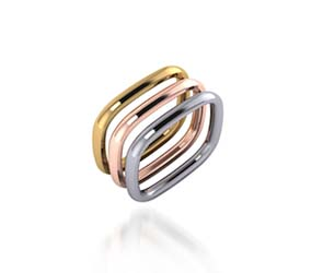 Tri-Color Stackable Wedding/Anniversary Rings