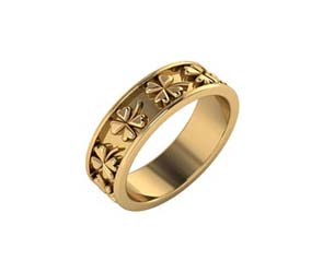 14K Gold Four Leaf Clover Eternity Band