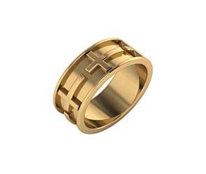 14K Gold Cross Eternity Band