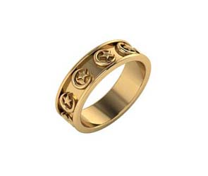 14K Gold Crescent Moon and Star Eternity Band
