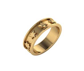 14K Gold Star of David Eternity Band