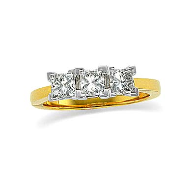 3 Stone Princess Anniversary Band 1.25 Carat Total Weight