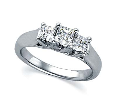 Three Stone Pricess Cut Engagement Ring 0.84 Carat Total Weight