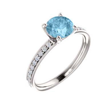 Aquamarine Diamond Accented Engagement Ring .90 Carat Total Weight