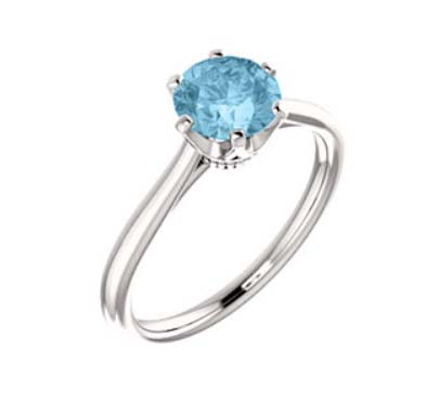 Aquamarine Engagement Ring 3/4 Carat Total Weight