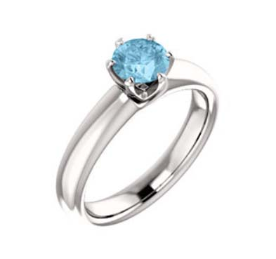 Aquamarine Solitaire Engagment Ring 0.45 Carat Total Weight