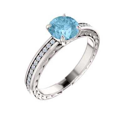 Aquamarine Engagement Ring 1.0 Carat Total Weight