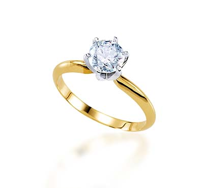 6 Prong Light Weight Engagement Ring 1/10 Carat Total Weight