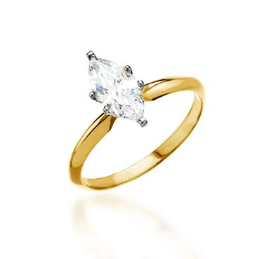 Diamond 6-Prong Marquise Engagement Ring 1/4 Carat Total Weight