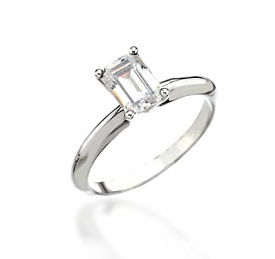 Emerald Cut Diamond Engagement Ring 3/8 Carat Total Weight