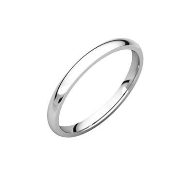 Ladies 2.0 mm Comfort Fit Light Wedding Bands