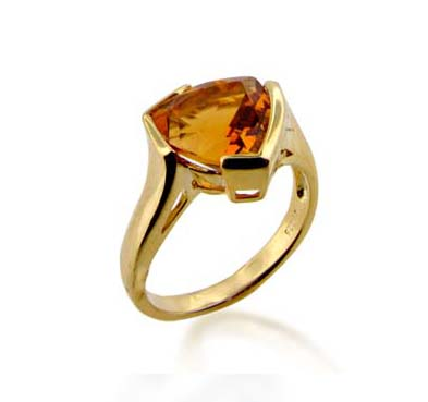 Sterling Silver Citrine Ring 3.4 Carat Total Weight