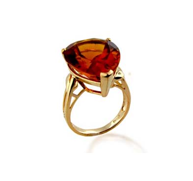 Sterling Silver Citrine Ring 15.3 Carat Total Weight