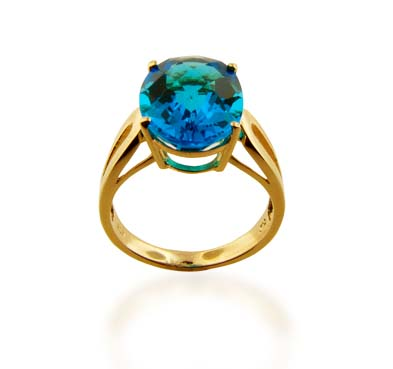 Sterling Silver Blue Topaz Ring 5.2 Carat Total Weight