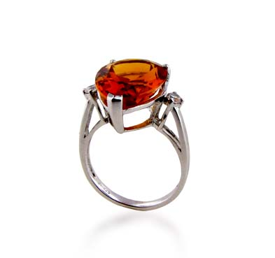 Sterling Silver Citrine Ring 7.5 Carat Total Weight