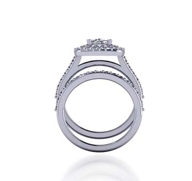 Diamond Halo Style Diamond Ring 1.15 Carat Total Weight