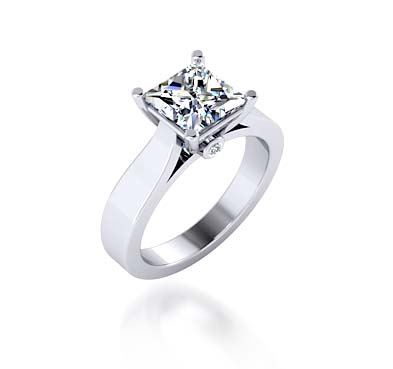 Princess Cut Diamond Solitaire Ring 1.04 Carat Total Weight