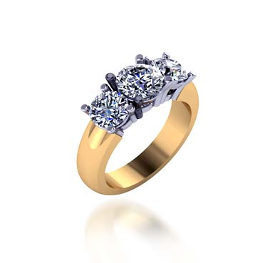 Two Tone 3 Stone Diamond Ring 1.45 Carat Total Weight
