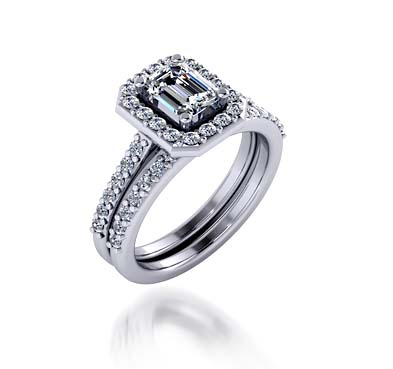 Emerald Cut Halo Style Engagement Ring 1.42 Carat Total Weight