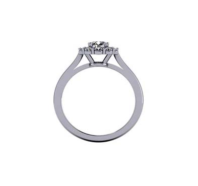 Round Halo Diamond Fashion Ring 1/2 Carat Total Weight