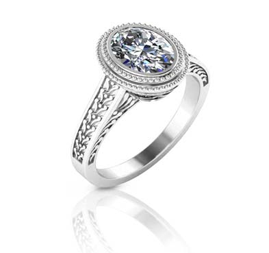 Miligrain and Filigree Halo Diamond Ring 1.25 Carat Total Weight