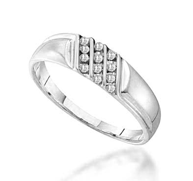 Mens Triple Row Diamond Band .12 Carat Total Weight