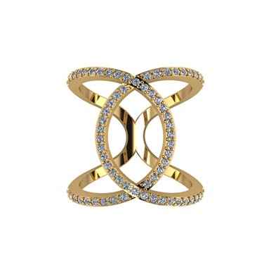 Double Loop Interlock Diamond Ring 0.66 Carat Total Weight