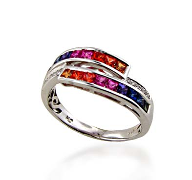 Sterling Silver Multi-color Sapphire Ring 1.08 Carat Total Weight