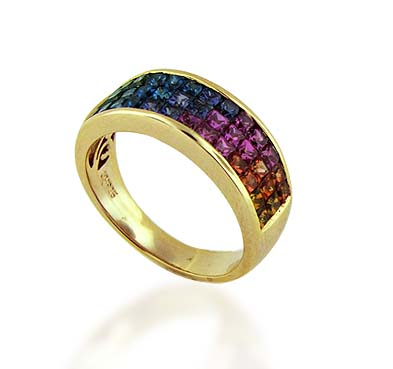Sterling Silver Multi-color Sapphire Ring 2.34 Carat Total Weight