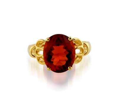 Sterling Silver Citrine Ring 4.3 Carat Total Weight