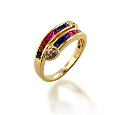 Sterling Silver Multi-color Sapphire Ring .96 Carat Total Weight