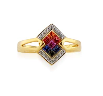 Sterling Silver Multi-color Sapphire Ring 3/8 Carat Total Weight
