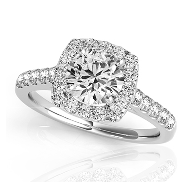 Round Diamond Cushion Fire Side Diamond Ring 0.94 Carat Total Weight