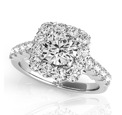 Round Halo Diamond Square Ring 1.25 Carat Total Weight