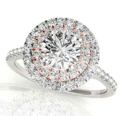Round Double Halo Diamond Ring .90 Carat Total Weight