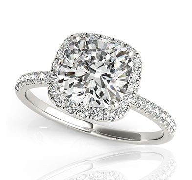 Frosted Acute Cushion Halo Diamond Ring 5/8 Carat Total Weight