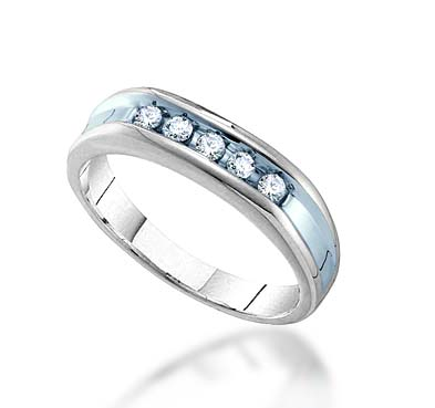 Mens 5 Stone Channel Set Band 1/4 Carat Total Weight