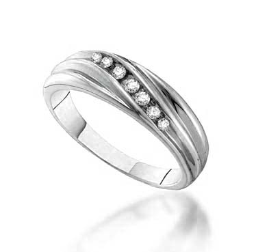 Mens 7 Stone Channel Set Diamond Band .16 Carat Total Weight 0.16 Carat Total Weight