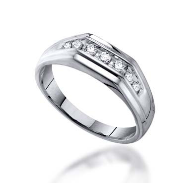 Mens Channel Set 7 Stone Diamond Ring 1/4 Carat Total Weight 1/4 Carat Total Weight